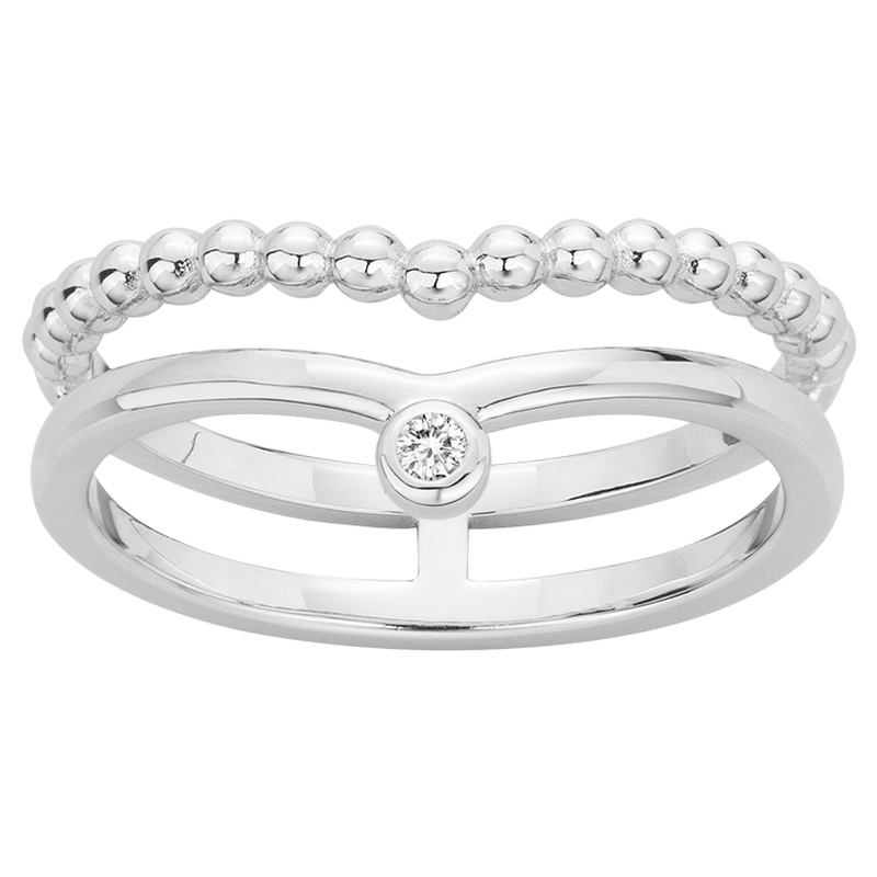 Bague « Indécise » La Garçonne Diamant en Argent et Diamant