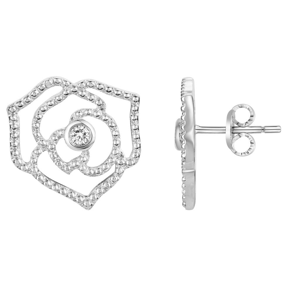 Boucles d'oreilles « Rose Perlée » La Garçonne Diamant en Argent et Diamant