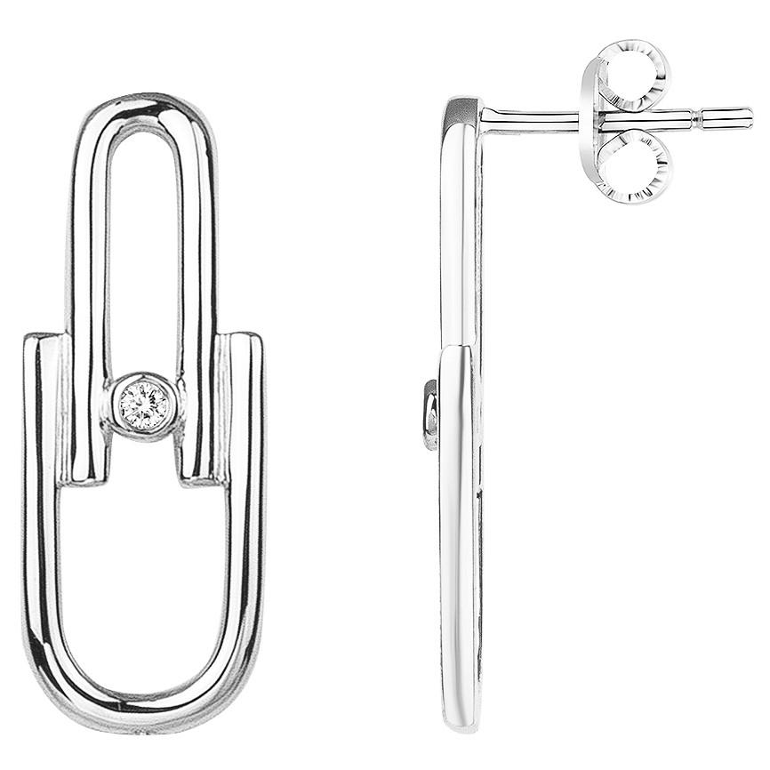 Boucles d'oreilles « Évidence » La Garçonne Diamant en Argent et Diamant