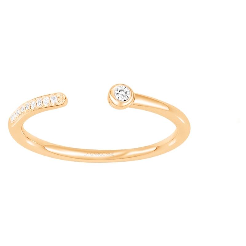 Bague « Lui et Moi » La Garçonne Diamant en Plaqué Or et Diamant