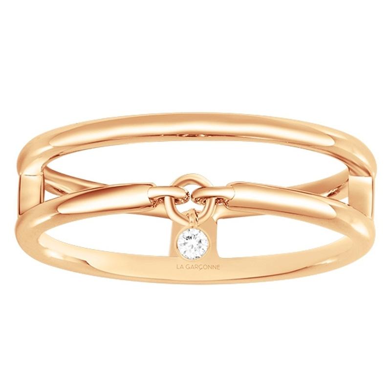 Bague « Optimiste » La Garçonne Diamant en Plaqué Or et Diamant
