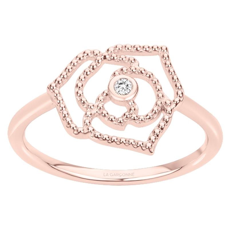 Bague « Rose Perlée » La Garçonne Diamant en Plaqué Or et Diamant