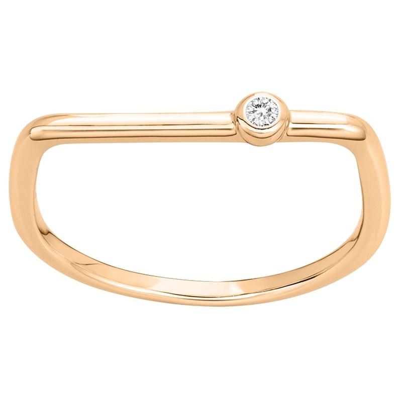Bague « Funambule » La Garçonne Diamant en Plaqué Or et Diamant