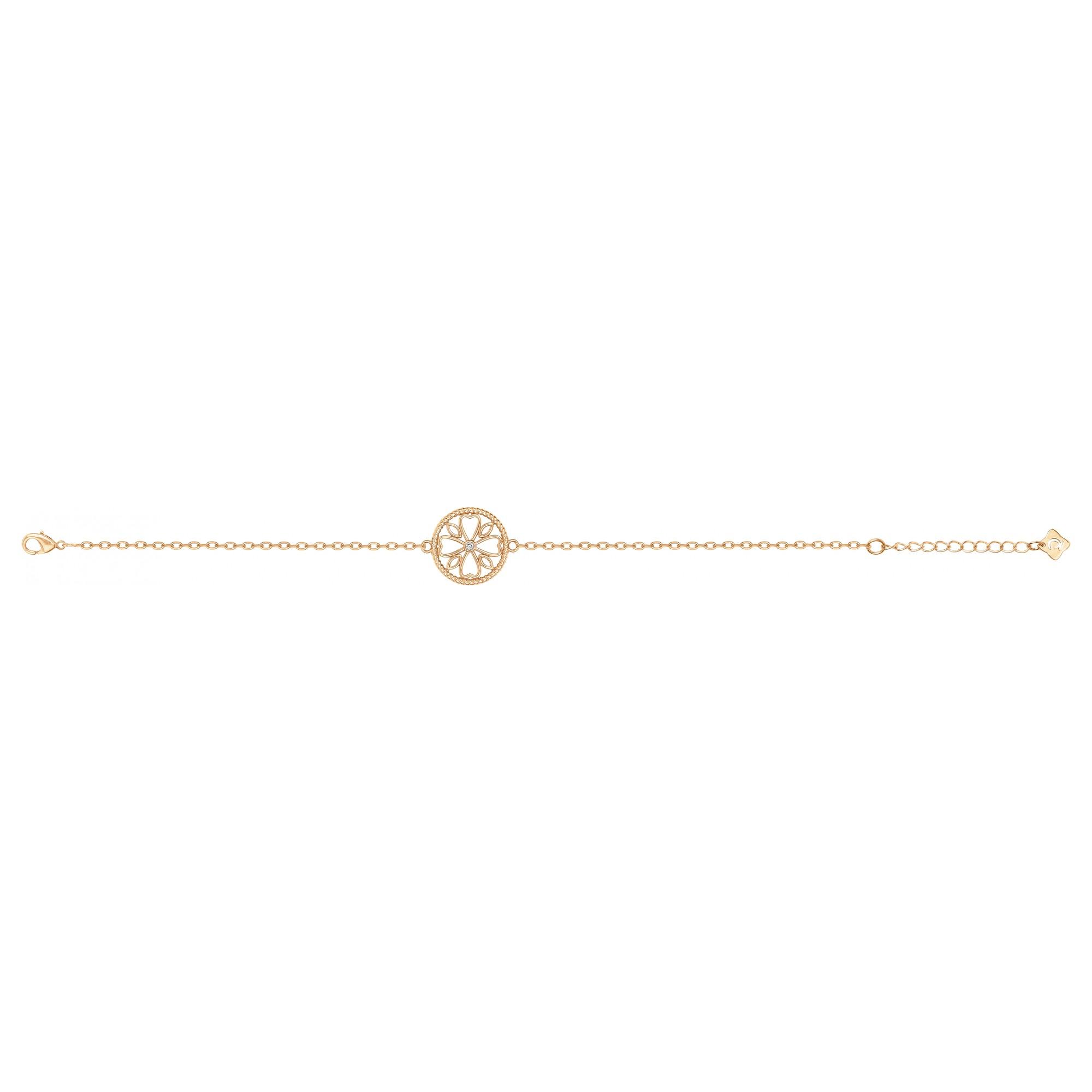 Bracelet « LE TREFLE » La Garçonne Diamant en Plaqué Or et Diamant