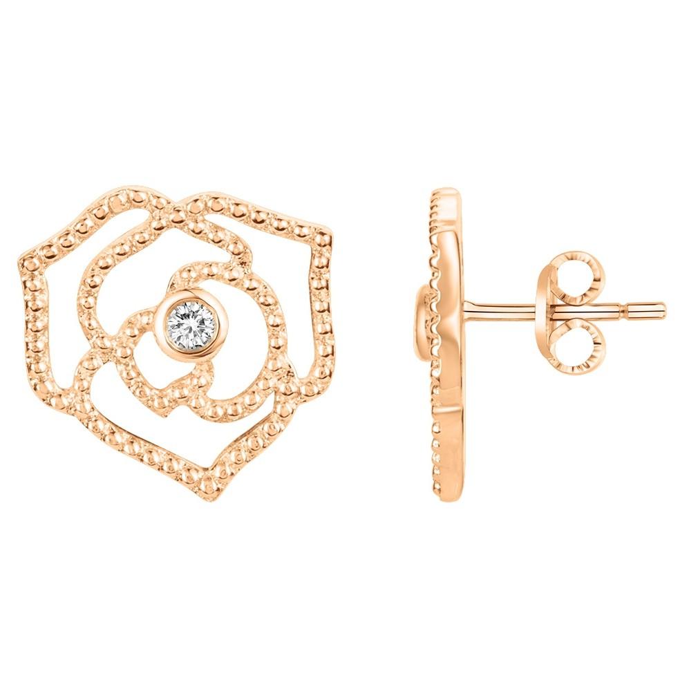 Boucles d'oreilles « Rose Perlée » La Garçonne Diamant en Plaqué Or et Diamant
