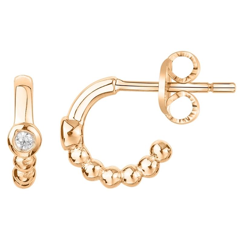 Boucles d'oreilles « Indécise » La Garçonne Diamant en Plaqué Or et Diamant