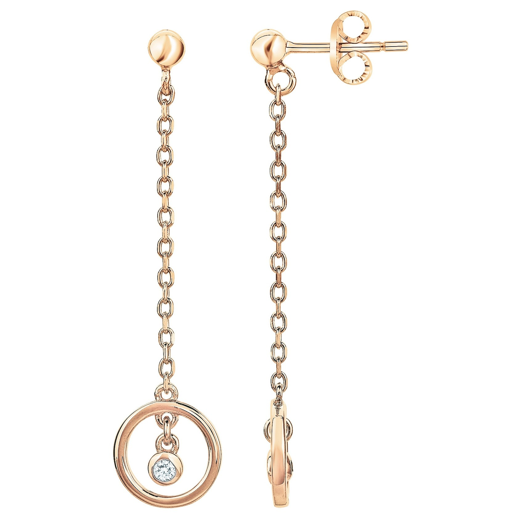 Boucles d'oreilles « Angélique » La Garçonne Diamant en Plaqué Or et Diamant