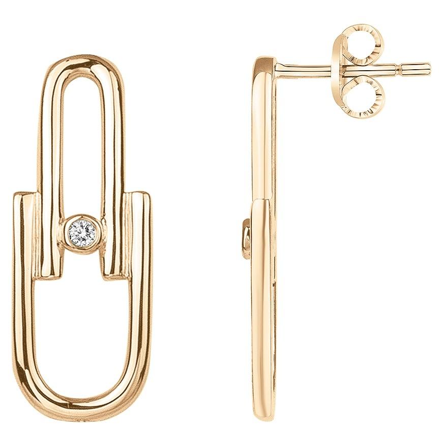 Boucles d'oreilles « Évidence » La Garçonne Diamant en Plaqué Or et Diamant