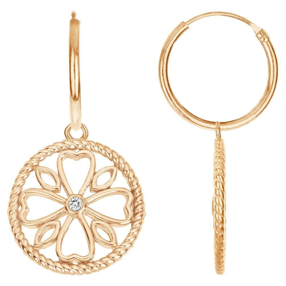 Boucles d'oreilles « LE TREFLE » La Garçonne Diamant en Plaqué Or et Diamant