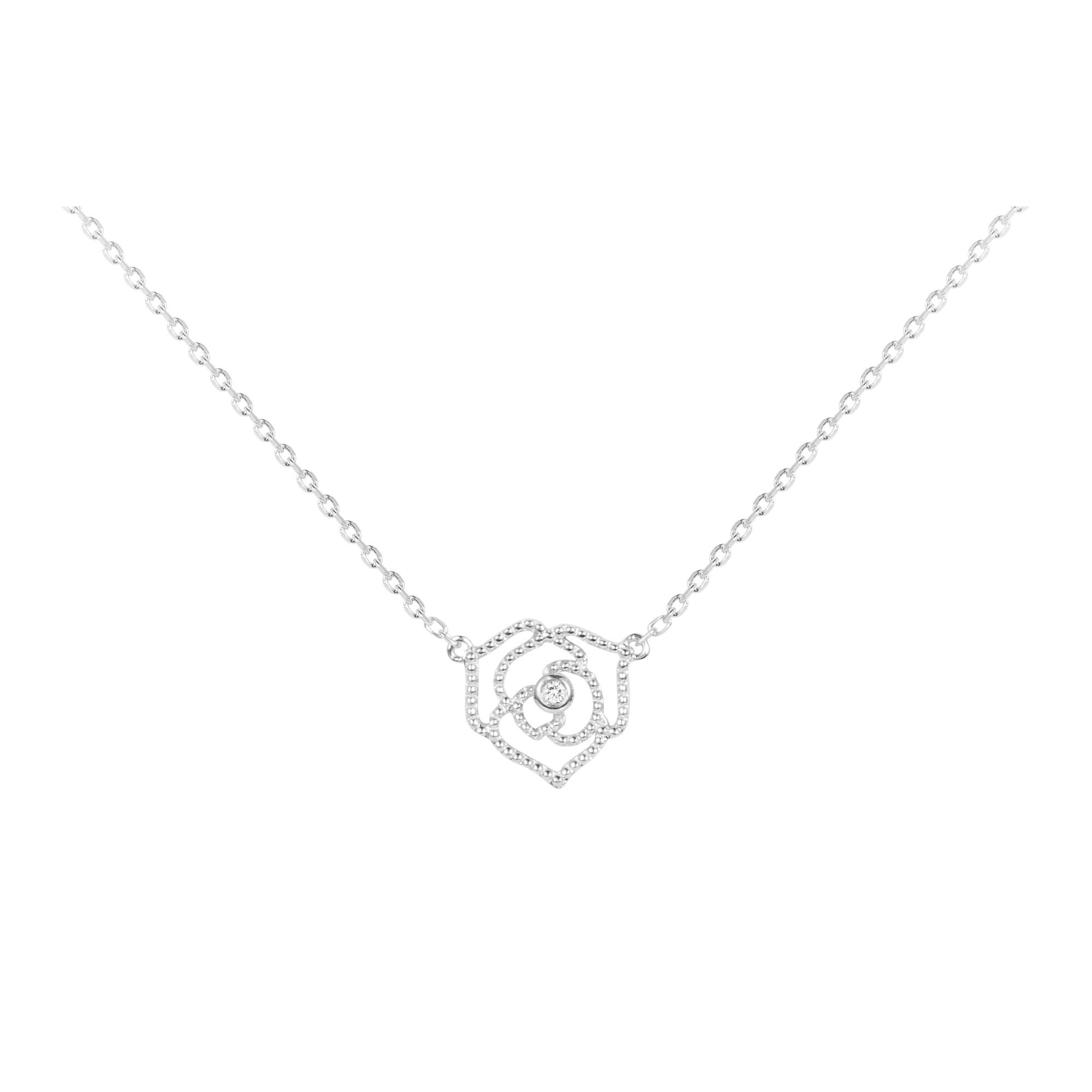 Collier « Rose Perlée » La Garçonne Diamant en Argent et Diamant