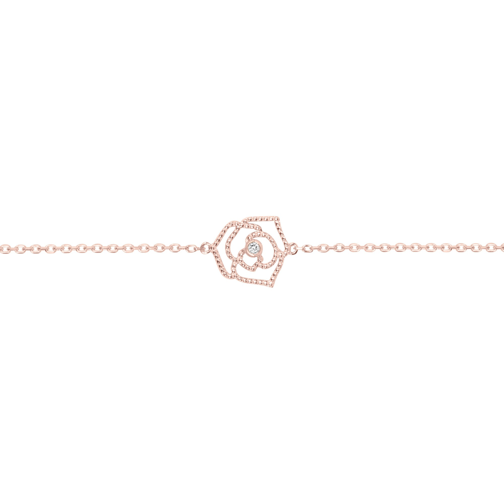 Bracelet « Rose Perlée » La Garçonne Diamant en Plaqué Or et Diamant