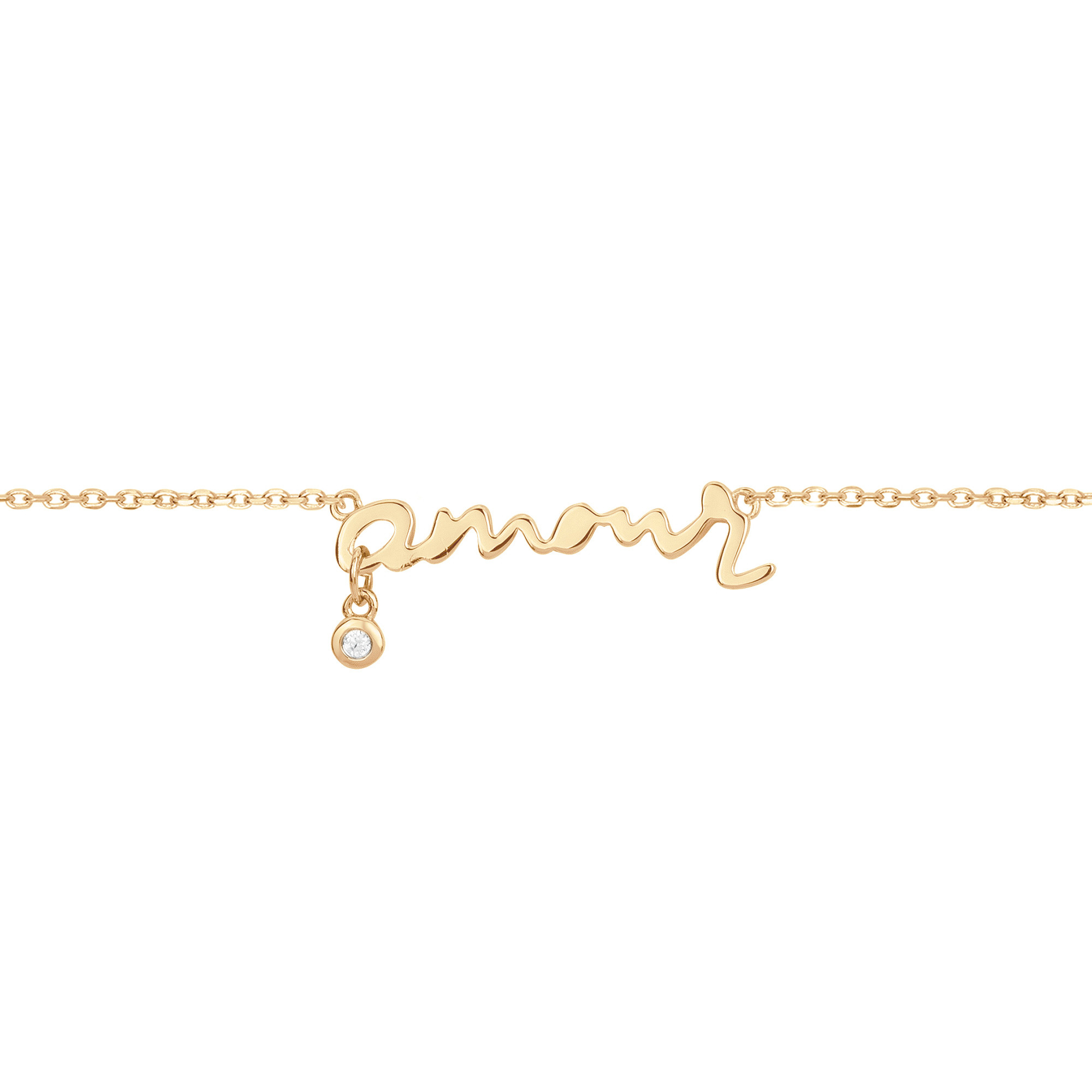 Bracelet « Toi, mon Amour » La Garçonne Diamant en Plaqué Or et Diamant