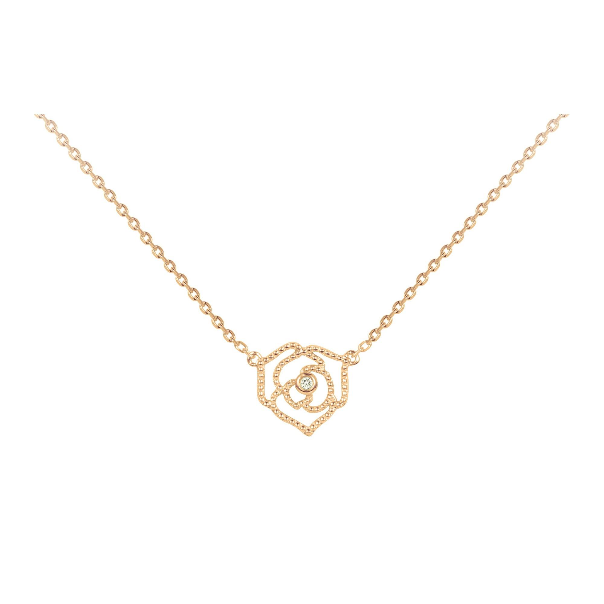 Collier « Rose Perlée » La Garçonne Diamant en Plaqué Or et Diamant